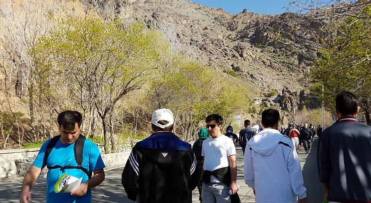اهدای پمفلت های آموزشی درباره شیوه سالم زندگی و ... در اولین روز هفته سلامت در جاده سلامتی بام تهران